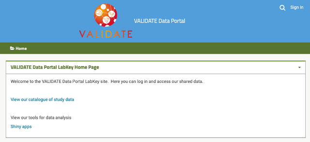 VALIDATE data portal catalogue page
